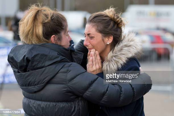 Romina Sala sister of Emiliano Sala visits tributes at the Cardiff City Stadium on January 25 2019 in Cardiff Wales Emiliano Sala is one of two...