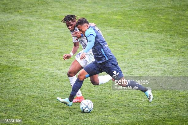 Rominigue KOUAME of ESTAC Troyes and Lalaina NOMENJANAHARY of Paris FC during the Ligue 2 match between Paris FC and Troyes at Stade Charlety on...