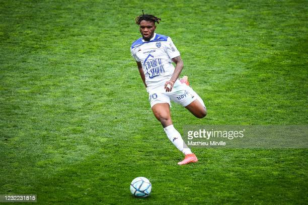 Rominigue KOUAME of ESTAC Troyes during the Ligue 2 match between Paris FC and Troyes at Stade Charlety on April 10, 2021 in Paris, France.