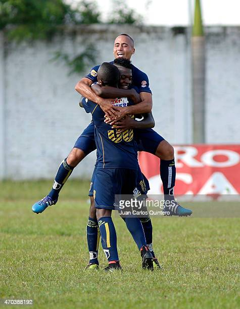 Romir Balanta of Depor FC celebrates after scoring the second goal of his team during a match between Depor FC and America de Cali as part of 10th...