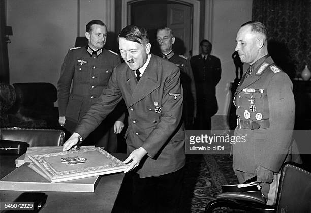Rommel Erwin Officer Germany*18911944 gets from Adolf Hitler the certificate of appointment to Marshall Published by 'Deutsche Allgemeine Zeitung'...