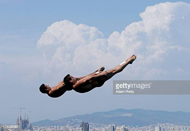 Rommel Pacheco and Jahir Ocampo of Mexico compete in the Men's 3m Synchro Springboard Diving final on day four of the 15th FINA World Championships...