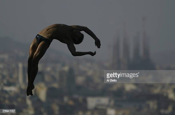 Rommel Pacheco of Team Mexico practices for the 3m diving competition of the 2003 FINA World Swimming Championships at Bernat Picornell Swimming Pool...