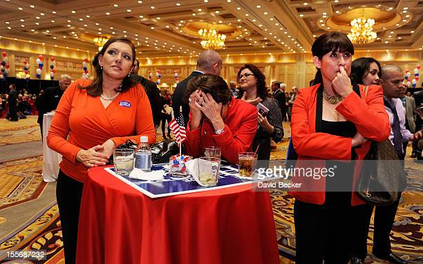 Romney supporters Cecilia Aldana Julie Hereford and Irma Aguirre reacts after hearing that President Barack Obama was declared the winner at an...