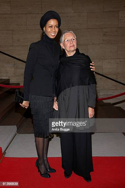 Romney Williams and Beatles photographer Astrid Kirchherr attend the 2009 Quadriga Awards on October 3 2009 in Berlin Germany