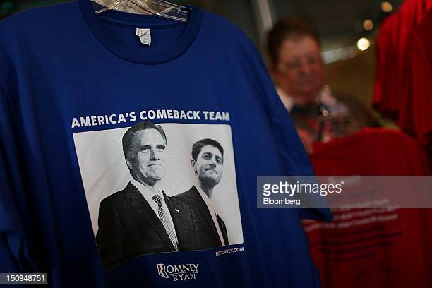 RomneyRyan tshirts are displayed for sale at the Republican National Convention in Tampa Florida US on Wednesday Aug 29 2012 Representative Paul Ryan...