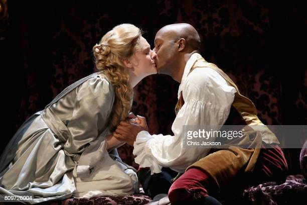 Romola Garai and Chu Omambala on stage during the 'Queen Anne' photocall at Theatre Royal on July 6 2017 in London England