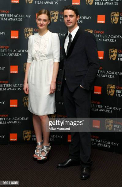 Romola Garai and Matthew Goode attend the announcement of the nominations for The Orange British Academy Film Awards at BAFTA on January 21 2010 in...