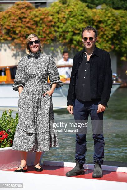Romola Garai and Patrick Kennedy arrive at the Excelsior during the 77th Venice Film Festival on September 04, 2020 in Venice, Italy.