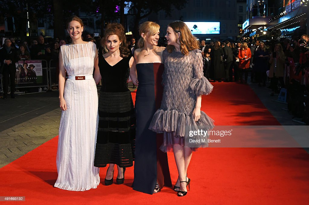 Romola Garai, Helena Bonham Carter, Anne-Marie Duff and Carey Mulligan attend a screening of 'Suffragette' on the opening night of the BFI London Film Festival at Odeon Leicester Square on October 7, 2015 in London, England.