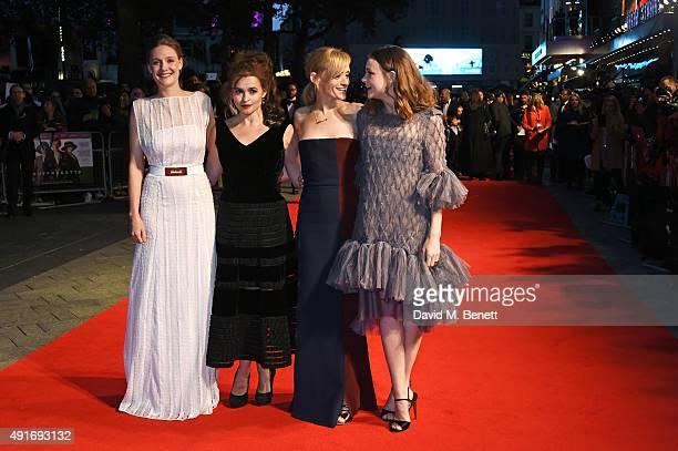 Romola Garai Helena Bonham Carter AnneMarie Duff and Carey Mulligan attend a screening of 'Suffragette' on the opening night of the BFI London Film...