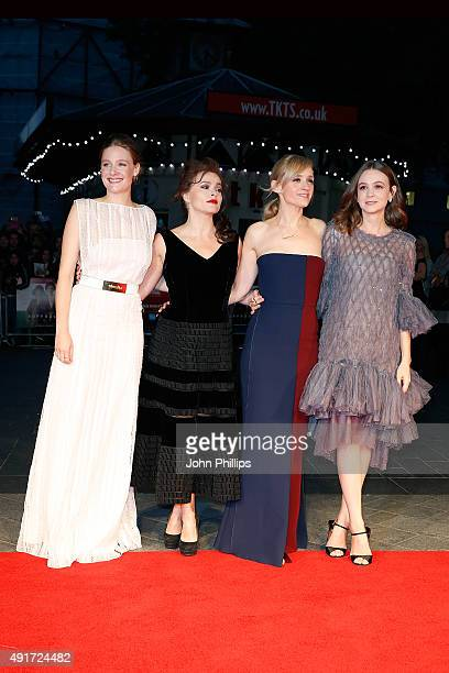 Romola Garai Helena Bonham Carter AnneMarie Duff and Carey Mulligan attend the Suffragette premiere during the opening night gala during the BFI...
