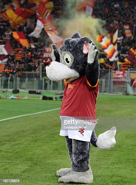 Romolo mascot of AS Roma seen before during the Serie A match between AS Roma and Juventus FC at Stadio Olimpico on February 16 2013 in Rome Italy