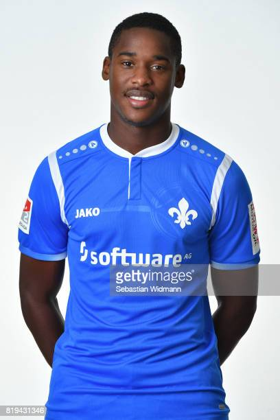 Romuald Lacazette of SV Darmstadt 98 poses during the team presentation at MerckStadion am Boellenfalltor on July 20 2017 in Darmstadt Germany