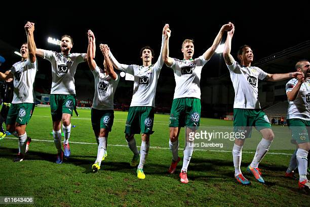 Romulo Cabral Pereira Pinto of Hammarby IF and his friends in Hammarby IF after the Allsvenskan match between Helsingborgs IF and Hammarby IF at...