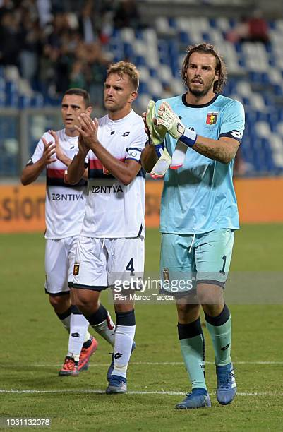 Romulo Domenico Criscito and goalkeeper Federico Marchetti of Genoa CFC gesture during the serie A match between US Sassuolo and Genoa CFC at Mapei...