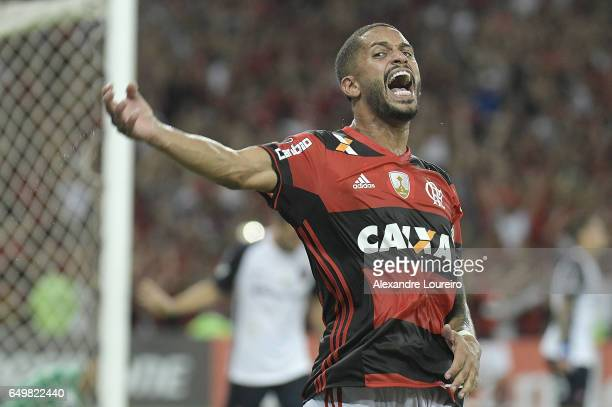 Romulo of Flamengo celebrates a scored goal during the match between Flamengo and San Lorenzo as part of Copa Bridgestone Libertadores 2017 at...