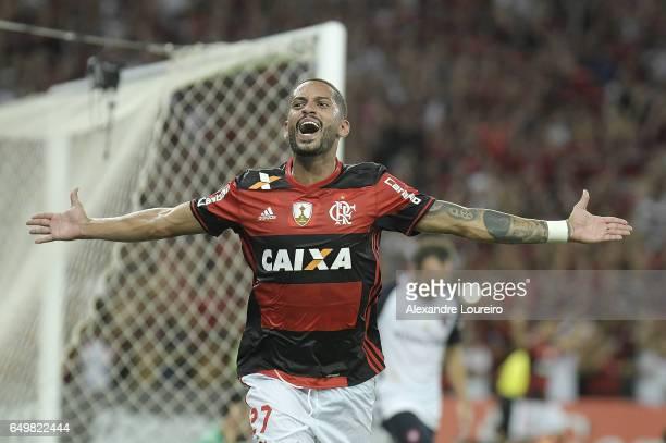Romulo of Flamengo celebrates a scored goal during the match between Flamengo and San Lorenzo as part of Copa Bridgestone Libertadores 2017 at...
