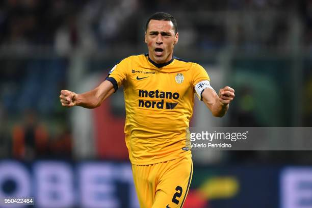 Romulo of Hellas Verona FC celebrates a goal during the Serie A match between Genoa CFC and Hellas Verona FC at Stadio Luigi Ferraris on April 23...