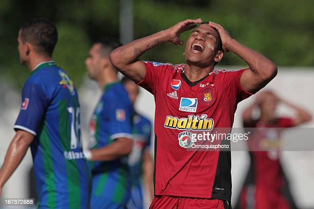 Romulo Otero of Caracas FC gestures during a match between Llaneros de Guanare and Caracas FC as part of the Clausura Tournament 2013 at the Estadio...