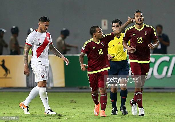 Romulo Otero of Venezuela celebrates after scoring the first goal of his team during a match between Peru and Venezuela as part of FIFA 2018 World...