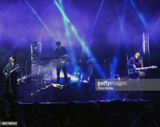 Romy Madley Craft Jamie Smith and Oliver Smith of The XX perform at Shaky Knees Music Festival at Centennial Olympic Park on May 13 2017 in Atlanta...