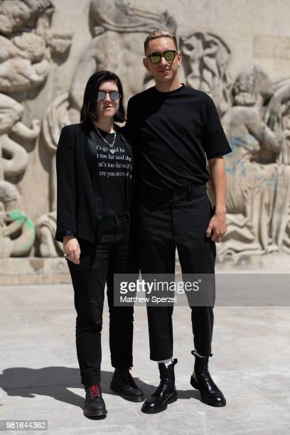Romy Madley Croft and Oliver Sim of The xx are seen on the street during Paris Men's Fashion Week S/S 2019 wearing allblack on June 22 2018 in Paris...
