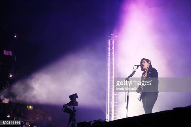 Romy Madley Croft and Oliver Sim of the XX perform during Splendour in the Grass 2017 on July 21 2017 in Byron Bay Australia