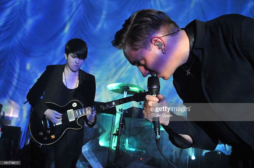 Romy Madley Croft and Oliver Sim of The XX perform live on stage at Shepherds Bush Empire to support the release of their second album, Coexist, on September 10, 2012 in London, United Kingdom.