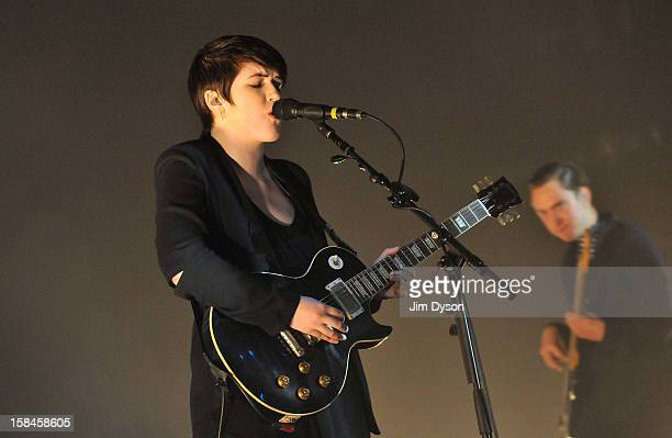 Romy Madley Croft and Oliver Sim of The XX perform live on stage at Brixton Academy on December 16 2012 in London England