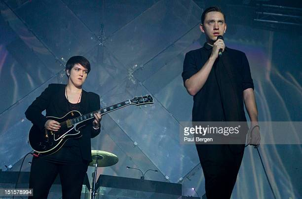 Romy Madley Croft and Oliver Sim of The XX perform on stage, Lowlands festival, Biddinghuizen, Netherlands, 18 August 2012.