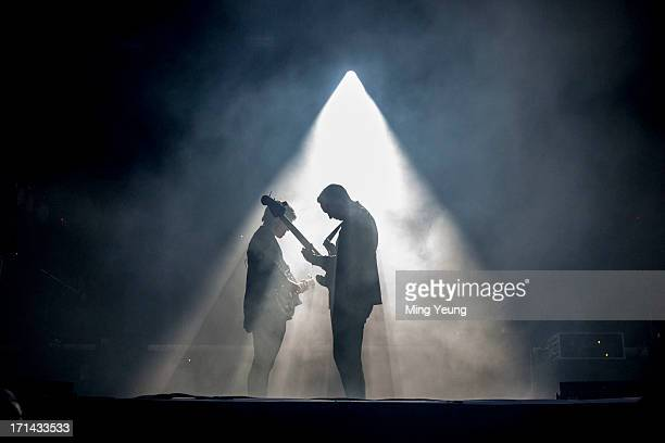 Romy Madley Croft and Oliver Sim perform at The Night and Day Festival Hatfield House on June 23 2013 in Hatfield England