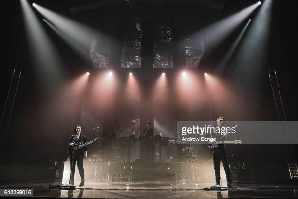 Romy Madley Croft Jamie XX and Oliver Sim of The XX perform at O2 Apollo Manchester on March 5 2017 in Manchester England