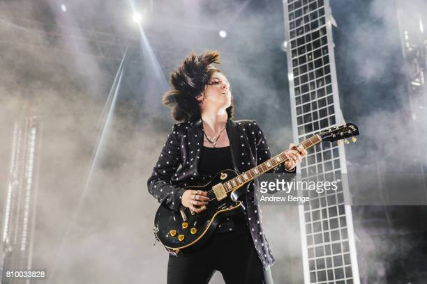 Romy Madley Croft of The XX performs during day 1 of NOS Alive on July 6 2017 in Lisbon Portugal