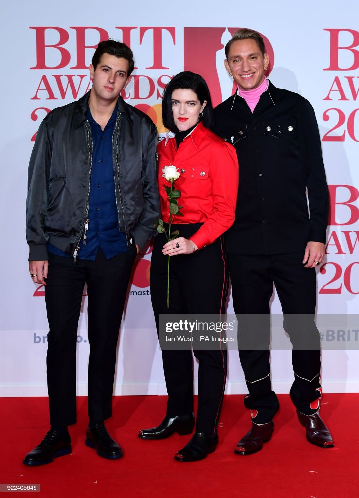 Romy Madley Croft, Oliver Sim and Jamie Smith, also known as Jamie xx from the band The xx attending the Brit Awards at the O2 Arena, London.