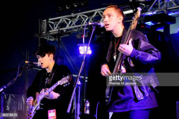 Romy MadleyCroft and Olive Sim of The XX perform at Day 2 of the Leeds Festival at Bramham Park on August 29 2009 in Leeds England