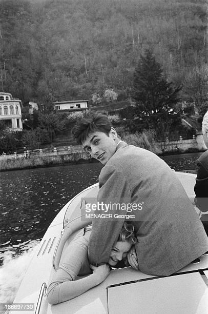 Romy Schneider And Alain Delon Engaged. Fiançailles officielles d'Alain DELON et Romy SCHNEIDER à Vico-Morcote dans la résidence de Magda SCHNEIDER...