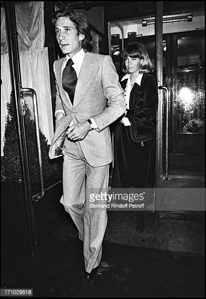 """Romy Schneider and Daniel Biasini leaving the restaurant """"Maxim's"""" in Paris."""