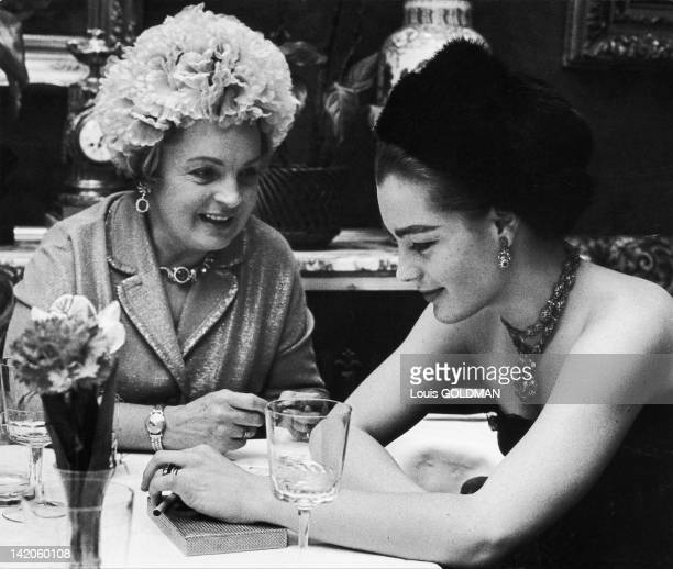 Romy Schneider and her mother at the Cafe Sacher during 1963 in Vienna