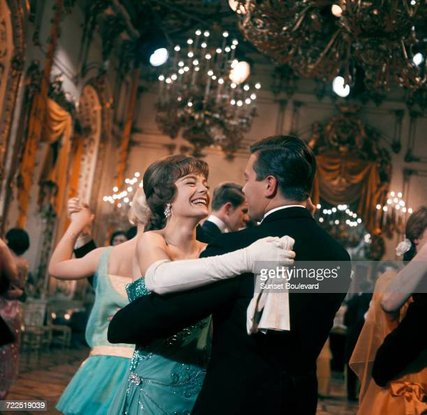 Romy Schneider and Peter Weck on the set of 'The Cardinal' directed by Otto Preminger 1963
