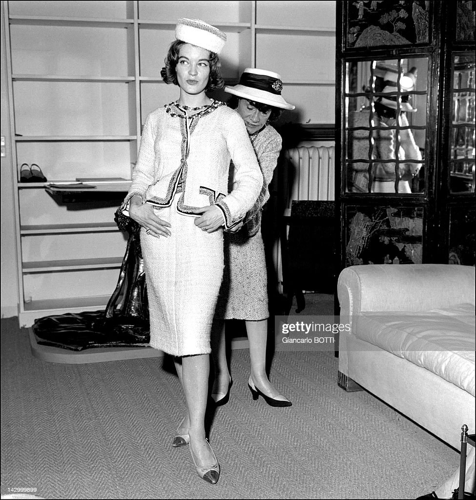 Romy Schneider at Coco Chanel studio, in Cambon street, in the 1960's in Paris, France.