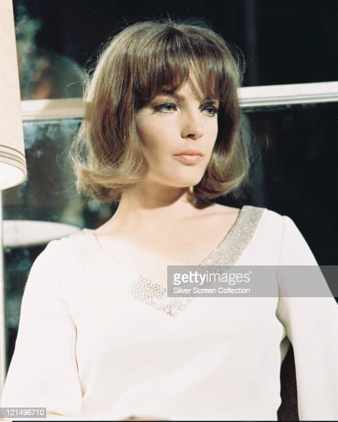 Romy Schneider Austrian actress wearing a white Vneck jumper circa 1965