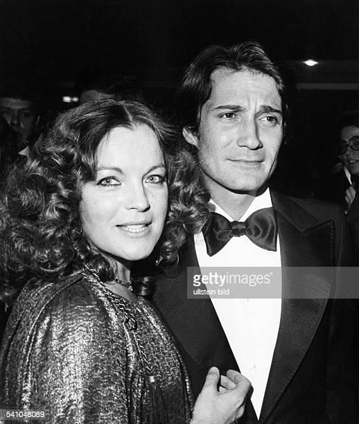 ' Romy Schneider Austrian actress with her husband Daniel Biasini January 1978