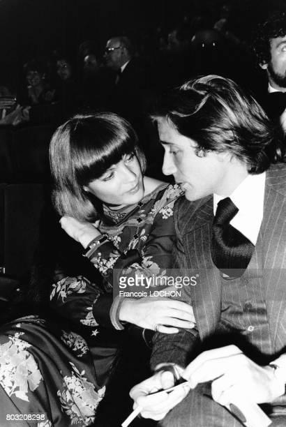 Romy Schneider et Daniel Biasini à la première du spectacle de Gilbert Bécaud a l'Olympia le 23 octobre 1975 à Paris France