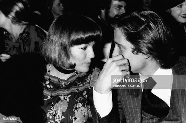 Romy Schneider et Daniel Biasini à la première du spectacle de Gilbert Bécaud a l'Olympia le 23 octobre 1975 à Paris, France.