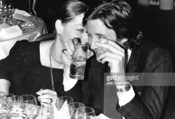 Romy Schneider et Daniel Biasini venu assister à un show de Serge Lama au Palais des Congrès à Paris en France le 15 janvier 1979