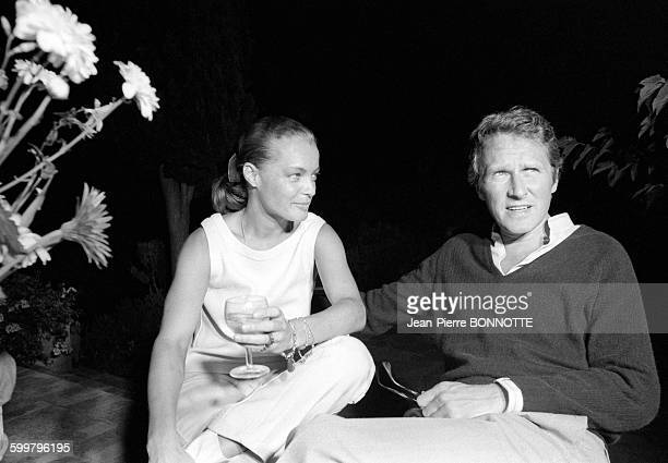 Romy Schneider et son époux Harry Meyen en août 1968 en France