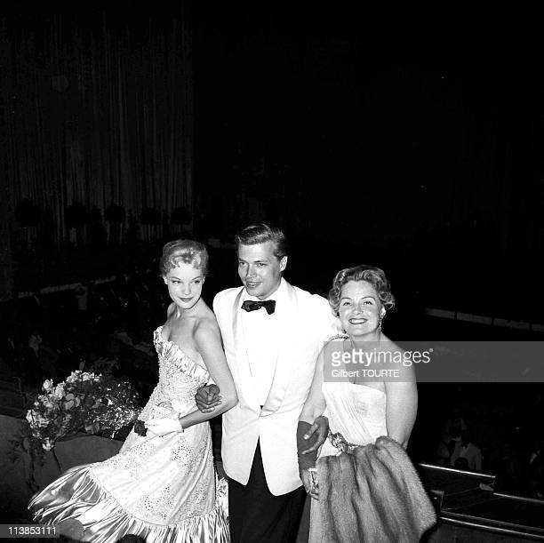 Romy Schneider her mother Magda and Karl HeinzBohm during the Cannes Film Festival in 1957