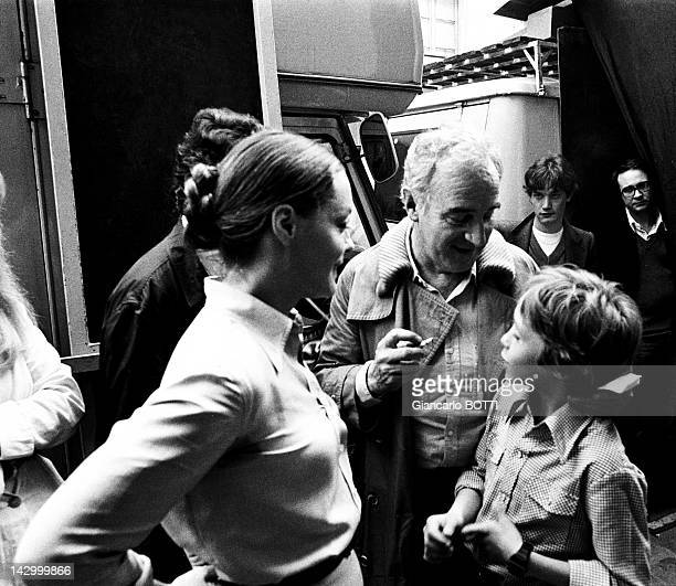 Romy Schneider with Claude Sautet and David Christopher Meyen her son on the set of 'A simple Story' by Claude Sautet 1978 in France