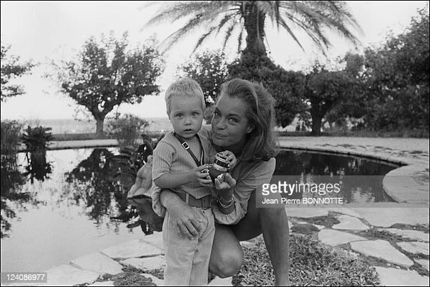 Romy Schneider with Harry Meyer and son David In France In 1968